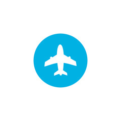 Airplane icon vector blue illustration design Logo Template. Travel background with aircraft and place for your text. Vector