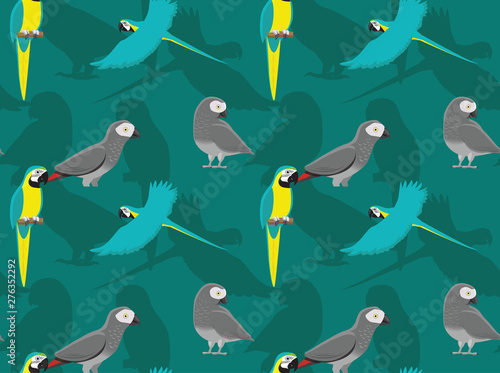 Blue And Yellow Macaw Grey Parrot Cartoon Seamless Wallpaper