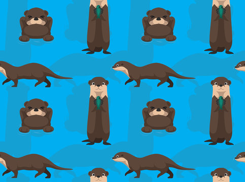 Cute Otter Cartoon Seamless Wallpaper