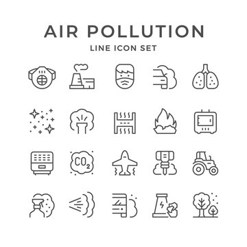 Set line icons of air pollution