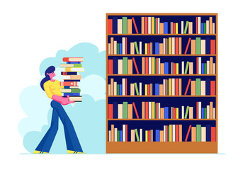 Woman Carry Big Heap of Book to Bookshelf in Public or Home Library Student Spend Time in Athenaeum or Archive Room with Bookcase, Character in Literature Storage. Cartoon Flat Vector Illustration