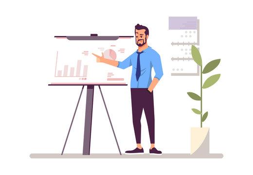 Top manager, businessman flat vector illustration