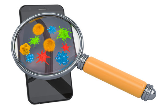 Smartphone, mobile phone with viruses and bacterias under magnifying glass. 3D rendering