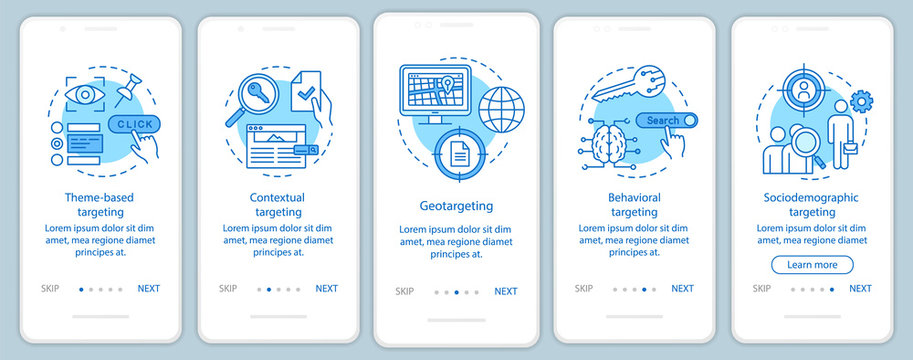 Targeting types blue onboarding mobile app page screen vector template. Targeted advertising walkthrough website steps with linear illustrations. UX, UI, GUI smartphone interface concept