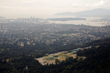 The Burnaby Terminal and Tank Farm, the terminus of the Trans Mountain Pipeline, is seen in an aerial photo over Burnaby Mountain