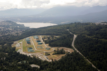 The Burnaby Terminal and Tank Farm, the terminus of the Trans Mountain Pipeline, is seen in an aerial photo over Burnaby