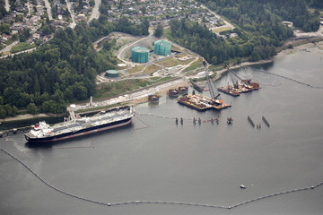 The Westridge Marine Terminal, the terminus of the Trans Mountain Pipeline, is seen in an aerial photo over Burrard Inlet
