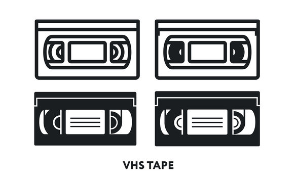 VHS Retro Video Cassette Tape. Vector Flat Line Icon Illustration.