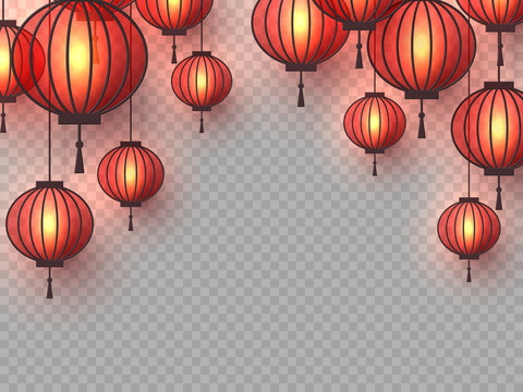 3d Chinese hanging lanterns with glowing lights. Decorative paper cut elements for Chinese New Year, festivals or holiday background. Isolated on transparent. Vector illustration.