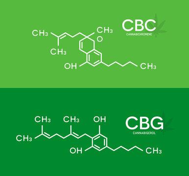 CBC and CBG formula. Cannabichromene and cannabigerol molecule structure.