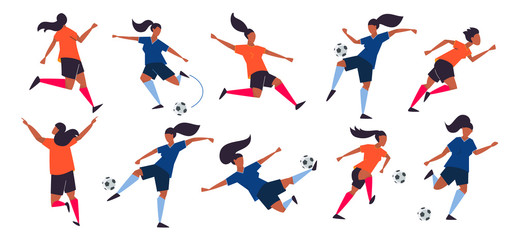 Girl power. Woman soccer players. Football vector illustration.