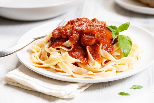 Pasta, fettuccine with tomato sauce