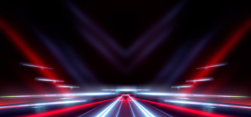 Fotomurales - Abstract light tunnel. Night view of the road in the tunnel. Abstract lines and rays of neon light. Movement speed, reflection. Night scene with neon spotlights.