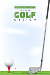 Background for your golf design with ball on tee