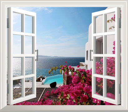 Beautiful view of sea from the window. 3d wallpaper, Window with flowers