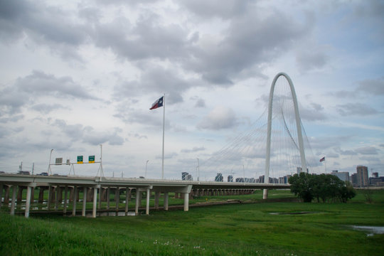 View at Dallas and Margaret Hunt Hill Bridge, Texas, USA