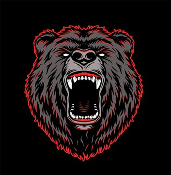 Aggressive grizzly head colorful template
