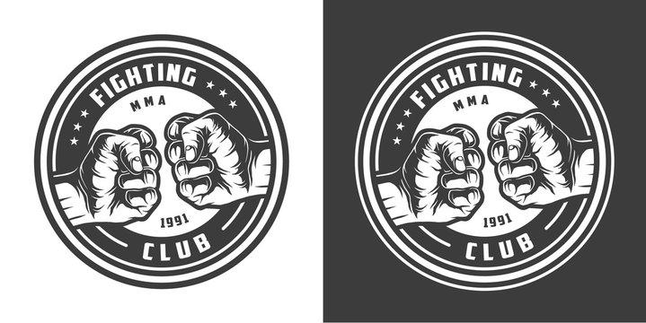 Vintage monochrome mma fight club emblem