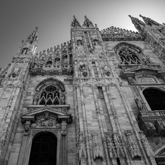 Milan Duomo cathedral details close up, Italy. Black and white toning