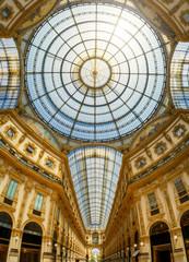 Galleria Vittorio Emanuele II interior in Milan city, Italy
