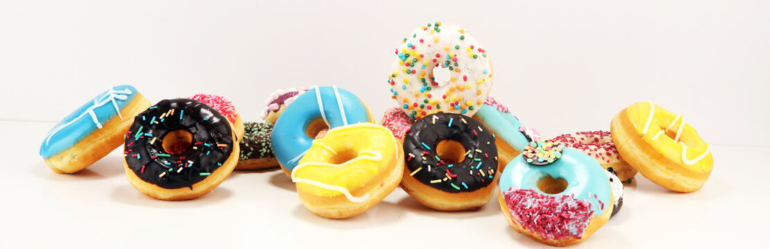 donuts in different glazes with chocolate