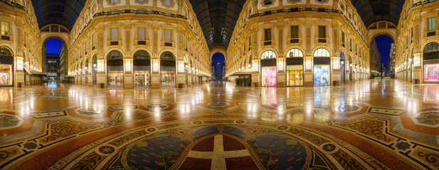 Poster Milan Galleria Vittorio Emanuele II interior at night in Milan city, Italy