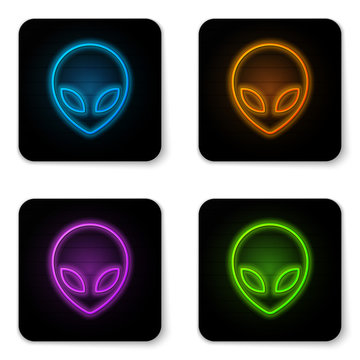 Glowing neon Alien icon isolated on white background. Extraterrestrial alien face or head symbol. Black square button. Vector Illustration