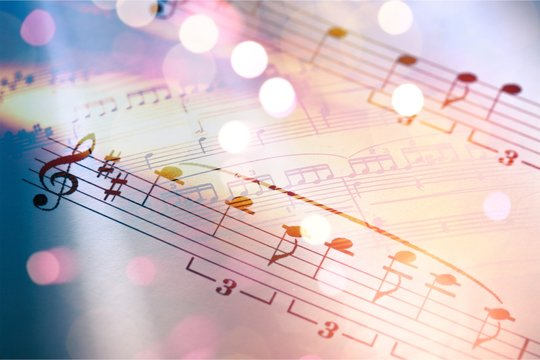 Sheets with music notes and abstract light bokeh