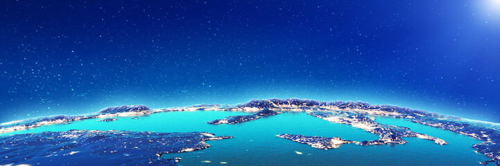 Wall Mural - Mediterranean city lights from space