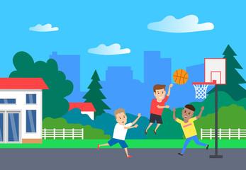 children play basketball in backyard. summer sport game