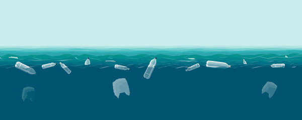 Plastic bottles and bags in the sea. Pollution of the World ocean by plastic waste. Vector illustration