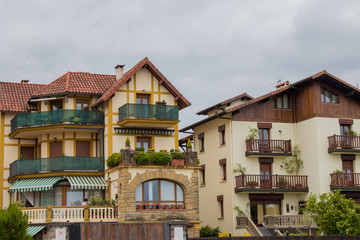 Wall Murals Bridges buildings, houses and architecture of hondarribia, basque country, spain