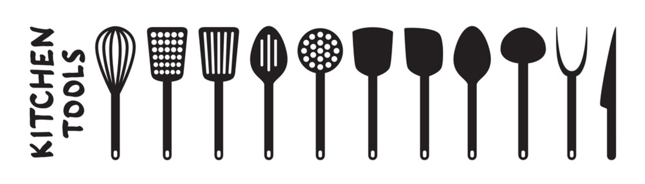 Black plastic Kitchenware isolated on white background. Vector kitchen utensils design elements for web, culinary infographic, brochure, restaurant presentation. Flat illustration of cooking tools. Bl