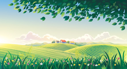 Rural summer landscape with flowers and grass in the foreground. Raster illustration.