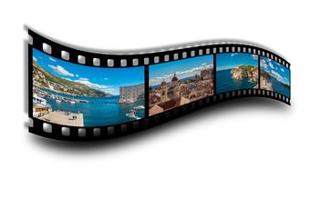 Filmstreifen I mit Bildern aus Dubrovnik in Kroatien