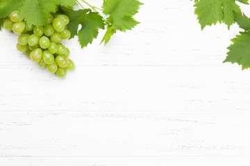 Green grape with leaves