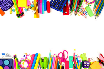 School supplies double border. Top view isolated on a white background with copy space. Back to school concept.