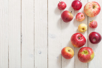 apples on wooden white background