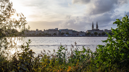 Panorama of Bordeaux and Garonne river