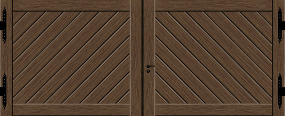 Wooden gate double leaf with fittings and diagonal decor as a graphic