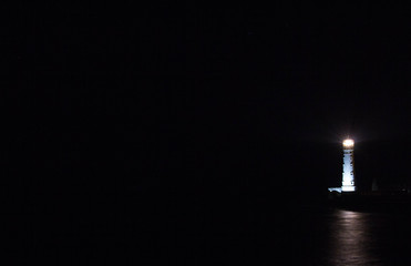Tarkhankut lighthouse in Crimea at night, night landscape Fototapete