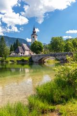Poster Channel Lake Bohinj in Triglav national park, Slovenia