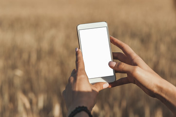 Mock up of the smartphone in the hands of the girl, on the background field.