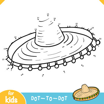 Numbers game, dot to dot game for children, Sombrero