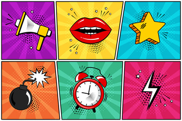 In de dag Pop Art Colorful set of comic icon in pop art style. Megaphone, lips, star, bomb, alarm clock, lightning. Vector illustration