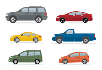 Tuinposter Cartoon cars Collection of different cars. Isolated on white background. Side view. Flat style, vector illustration.