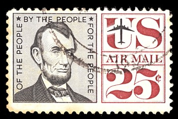 Postage stamp from USA. Airmail. With portret of president Abraham Lincoln 25 cent.