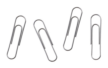 Silver paper clips isolated on a white background Wall mural