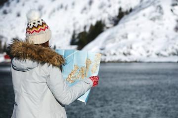 tourist girl at the lofoten islands
