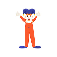 Cool clown or jester with violet hat and red clothes